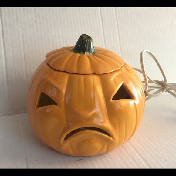 Vintage 2 face ceramic light up pumpkin Halloween